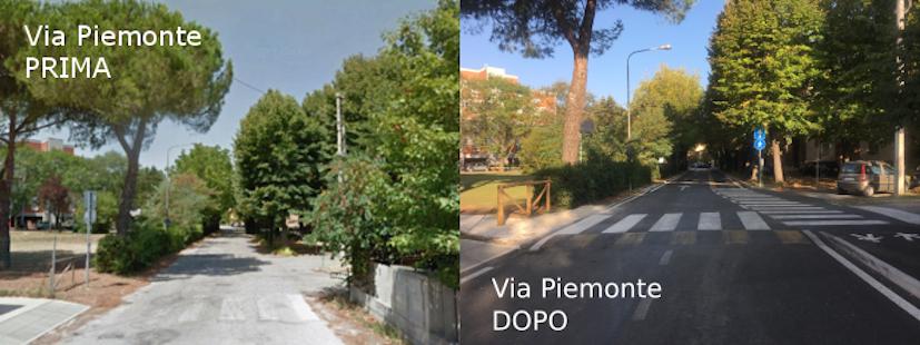 Via Piemonte prima e dopo